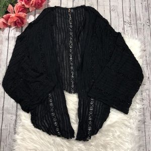 Free People One Crochet Black Cover Up Cardigan